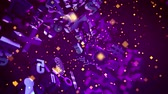 minteken : Exciting 3d rendering of revolting light violet computer signs such as arrow, key, stars, numbers, letters, grates, spirals,  with dashing yellow squares in the violet backdrop in seamless loop