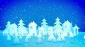 праздничный : Cheery 3d rendering of Christmas paper houses and fir trees turning right and left under heavy snow storm from lovely snowflakes. They create the mood of celebration, fun and optimism. Стоковые видеозаписи