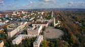 Russia, Lipetsk, Lenin square, panorama of the city center with the Lenin monument and the regional administration
