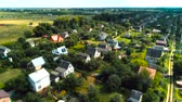 miniatűr : Village fly over houses aerial survey tilt shift miniature Stock mozgókép