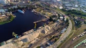 dredging : Aerial view of cranes at the quay tilt shift miniature