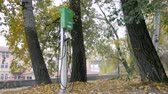 electro mobility : Green charge station in the backwoods. Concept of eco friendly transport