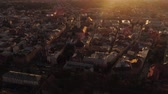 Old town at sunset aerial. Birds eye view of Lviv city. Cultural center of Ukraine