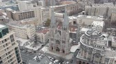 Aerial shot of Gothic Revival church in Kiev. Roman Catholic Church of Saint Nicholas. Overall plan Vídeos