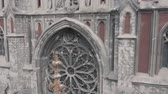 aziz : Roman Catholic Church of Saint Nicholas. Aerial pan shot of neo gothic church Stok Video