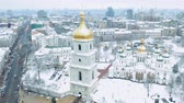 Saint Sophia Cathedral in Kiev. Famous place in Kiev, Saint Sophia square. Winter landscape