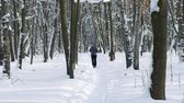 dürtmek : Person running in snowy forest. Healthy lifestyle and fitness concept Stok Video