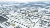 titânio : Aerial orbit view of chemical industry plant in winter. Air pollution industry. Carcinogenic harm concept