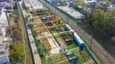 Fly over railway in the industrial area of the city. Aerial footage Filmati Stock