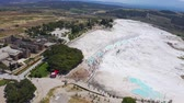 Amazing landscape of Pamukkale. Thermal springs located on white limestone terraces 4k