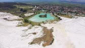 pamukkale : Aerial view of park at Mount Pamukkale. Swimming pool, panoramic views and a cafe at the lake 4k