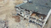 Fly over ruined house after building demolition. Drone shots after the earthquake. Aerial footage 4k Filmati Stock