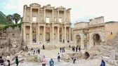 문명 : Celsus Library in Ephesus (Efes). Ancient Greek city Izmir, Turkey. Panoramic shot 4k