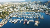 Bodrum bay with moored yachts. Aerial shot 4k Filmati Stock