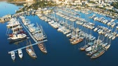 Bodrum port with yachts. Aerial footage 4k Filmati Stock