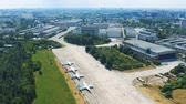 preventief : Soviet-era Antonov aircraft factory in Kiev. Museum exhibits of Antonov aircraft near the hangar 4k