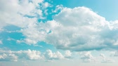 オゾン : Time lapse fluffy clouds floating on blue sky. Cloud running across the sky. Beautiful weather at cloudy heaven 4k 動画素材