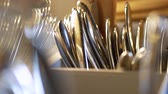 servies : Cutlery close-up. Forks, spoons and knives 4k Stockvideo