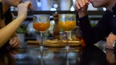 business men : Couple Drinking Juicy Cocktails Stock Footage