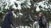 śnieżka : Couple Playing Snowballs in Winter Park Wideo