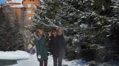 amantes : Man and Woman Walking in City Park in Winter Day
