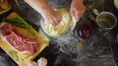 reçete : Senior Woman Hands Preparing Dough for Baking Stok Video