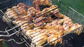 chicken wings : Delicious Chicken Wings Sizzling over the Coals on Barbecue Grill in Slow Motion. People Grilling Food Outdoors. Making Grilled Chicken BBQ . The Concept of Relaxation and Enjoying Food