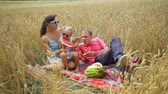 수박 : Family of Three, Father, Mother and Daughter Eating Watermelon in the Wheat Field. Slow Motion. Family, Leisure and People Concept