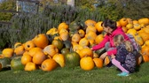 販売のための : Young Woman with her Daughter Choosing Halloween Pumpkin at Local Farmers Market. Fall Season. Halloween Harvesting and Thanksgiving Concept