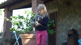 funny cat : Little Girl Holding Cute Gray and Ginger Kittens in her Hands near the Italian House. Happy Childhood, Pets and Animals Concept