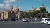 romano : Rome, Italy - October 5, 2019: Traffic and Tourists in the Center of Rome in Sunny Day. Beautiful Ancient Buildings are on the Background. Concept of Holidays, Vacations and Travel in Europe