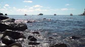 napoles : Sorgeto Bay with Rocky Beach on Ischia Island in Sunny Day. Some Boats and Yachts are on the Background. Concept of Holidays, Vacations and Travel in Europe