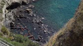 napoles : Amazing View of Beautiful Sorgeto Bay with Thermal Springs. People Bathing in Hot Waters on Ischia Island, Italy. Relax and Spa Concept Archivo de Video