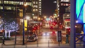 уличный свет : A time-lapse of the busy city streets of downtown Vancouver at night Стоковые видеозаписи
