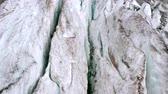 ice crack : Volcanic glacier in Svaneti, aerial shot. Amazing view. Stock Footage