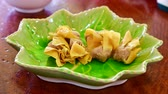 fast food : 4K time lapse video of fried dumplings, Thailand. Stock Footage