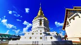 4K time lapse video of white pagoda in Sri Umong Kham temple, Thailand. Stock Footage