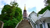 doi inthanon : 4K time lapse video of Phra Maha Dhatu Nabhamethanidol with cloud flowing, Thailand. Stock Footage