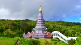 doi inthanon : 4K time lapse video of Phramahathat Napaphol Bhumisiri with cloud flowing, Thailand.