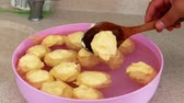 naturale : natural butter left to freeze in water, natural butter balls,