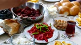 people who do the breakfast in the morning, Turkish breakfast table Stock Footage