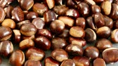 large amount of sweet raw chestnuts. forest products, natural chestnut.