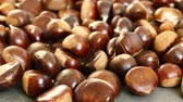 large amount of sweet raw chestnuts. forest products, natural chestnut