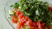 salad with tomatoes in plate Mixing tomato and purslane salad in salad plate. Filmati Stock