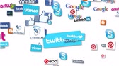 technology : Compilation of various social media icons and logos. Looping animation Stock Footage