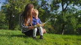 vaidade : People and education, mother and her child sitting on grass and reading book at park. Young beautiful woman with son enjoy nature. Slow motion.