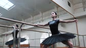 tutu skirt : Ballerina in black tutu and pointe stretches on barre in ballet gym. Woman standing near bar and mirror, preparing for perfomance.