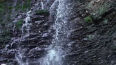 korken : Mountain waterfall flows down from forest cliff. Beautiful nature background. Videos