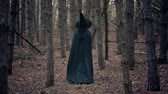 Unrecognizable woman as black witch walks between trees in autumn forest.Girl in long dress, cape, fairy hat. Halloween concept, cosplay dressing up Wideo