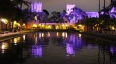 kaliforniya : Night reflection in Balboa Park, California